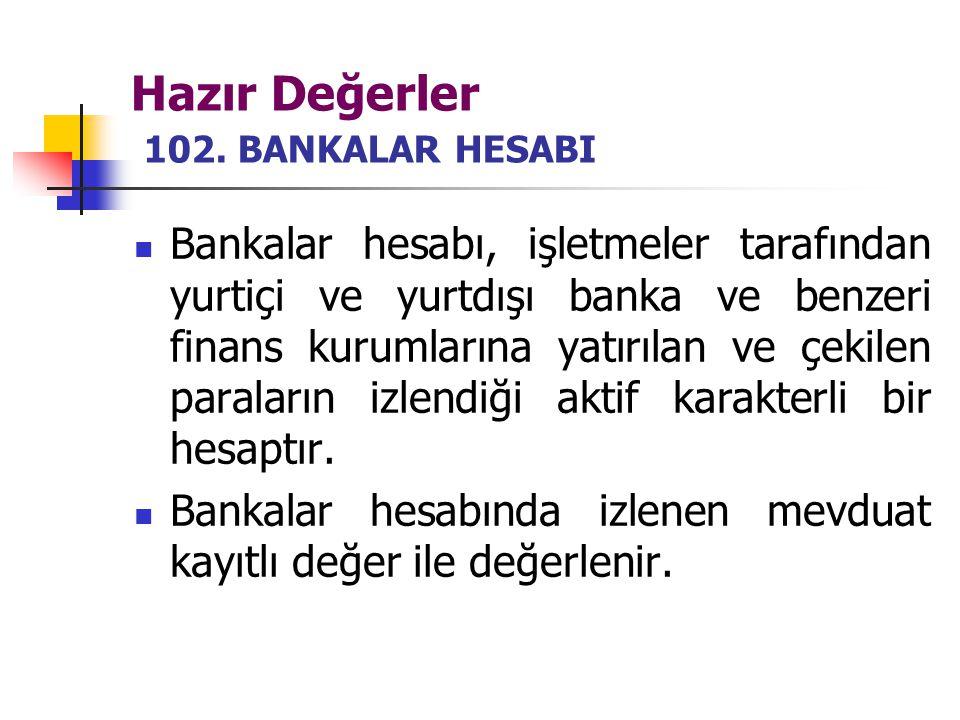 Hazır Değerler 102. BANKALAR HESABI Bankalar hesabı, işletmeler tarafından yurtiçi ve yurtdışı banka ve benzeri finans kurumlarına yatırılan ve çekile