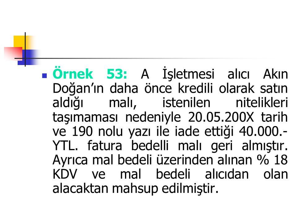 Örnek 53: A İşletmesi alıcı Akın Doğan'ın daha önce kredili olarak satın aldığı malı, istenilen nitelikleri taşımaması nedeniyle 20.05.200X tarih ve 1