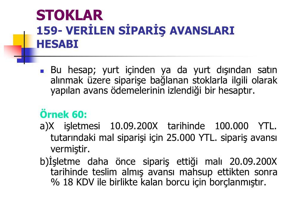 STOKLAR 159- VERİLEN SİPARİŞ AVANSLARI HESABI Bu hesap; yurt içinden ya da yurt dışından satın alınmak üzere siparişe bağlanan stoklarla ilgili olarak