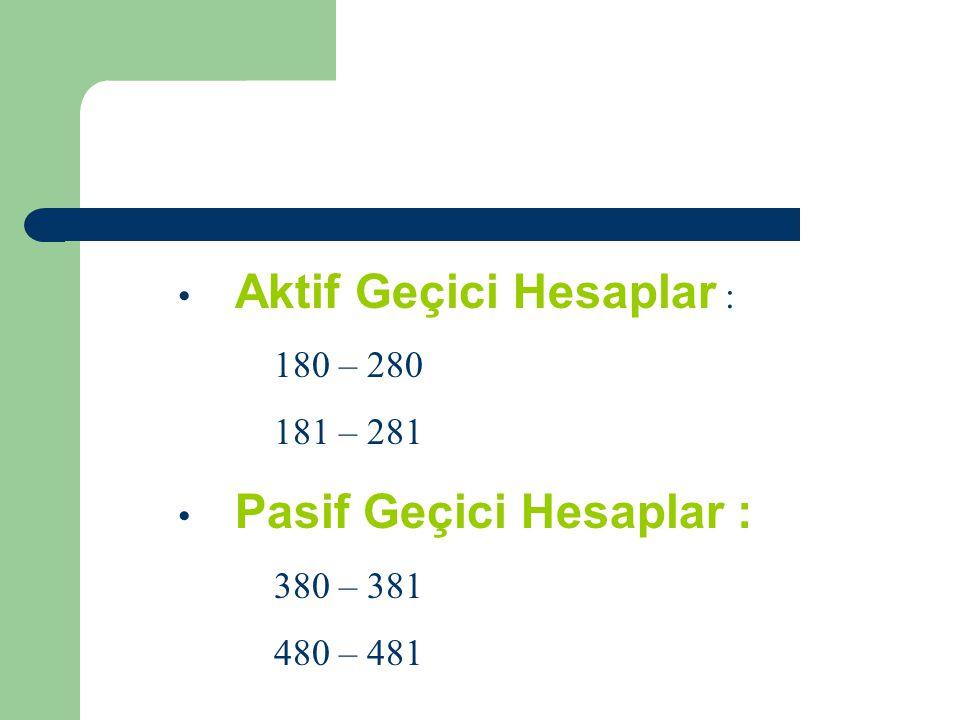 Aktif Geçici Hesaplar : 180 – 280 181 – 281 Pasif Geçici Hesaplar : 380 – 381 480 – 481