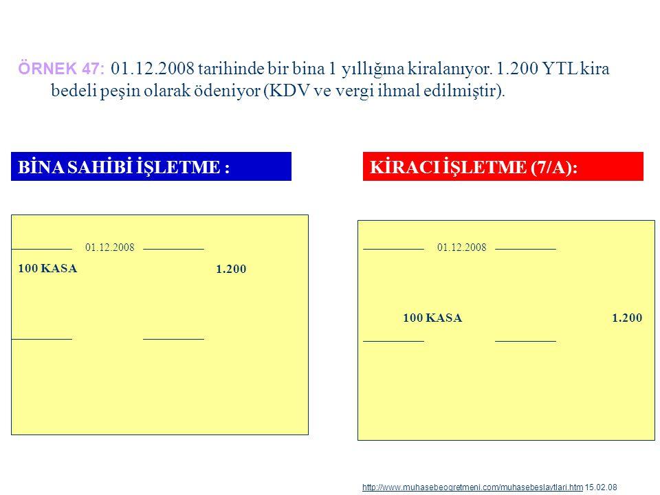 ÖRNEK 47: 01.12.2008 tarihinde bir bina 1 yıllığına kiralanıyor. 1.200 YTL kira bedeli peşin olarak ödeniyor (KDV ve vergi ihmal edilmiştir). 100 KASA