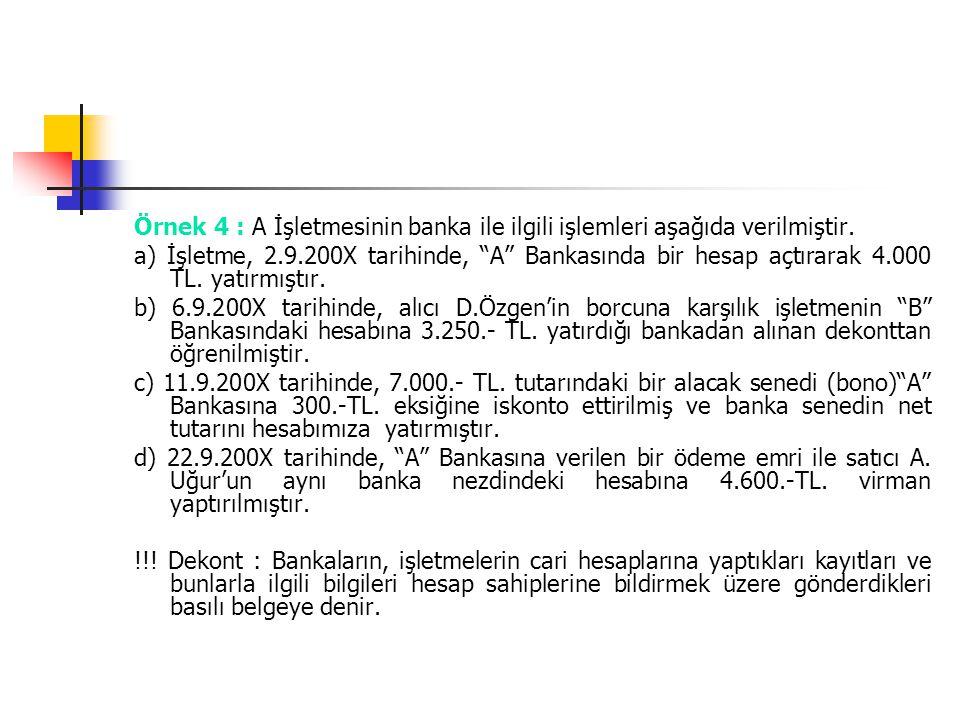"""Örnek 4 : A İşletmesinin banka ile ilgili işlemleri aşağıda verilmiştir. a) İşletme, 2.9.200X tarihinde, """"A"""" Bankasında bir hesap açtırarak 4.000 TL."""