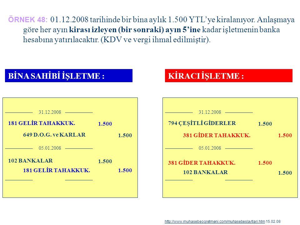 ÖRNEK 48: 01.12.2008 tarihinde bir bina aylık 1.500 YTL'ye kiralanıyor. Anlaşmaya göre her ayın kirası izleyen (bir sonraki) ayın 5'ine kadar işletmen