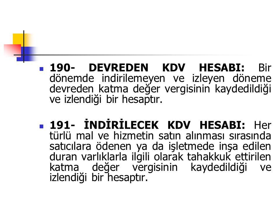 190- DEVREDEN KDV HESABI: Bir dönemde indirilemeyen ve izleyen döneme devreden katma değer vergisinin kaydedildiği ve izlendiği bir hesaptır. 191- İND