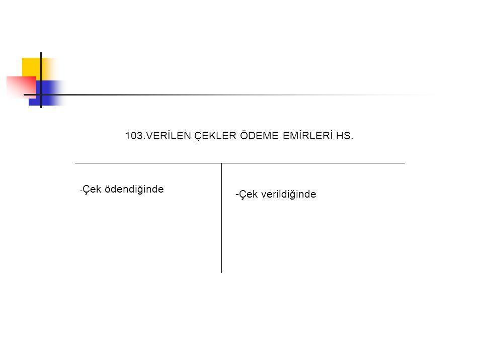 103.VERİLEN ÇEKLER ÖDEME EMİRLERİ HS. -Çek verildiğinde - Çek ödendiğinde