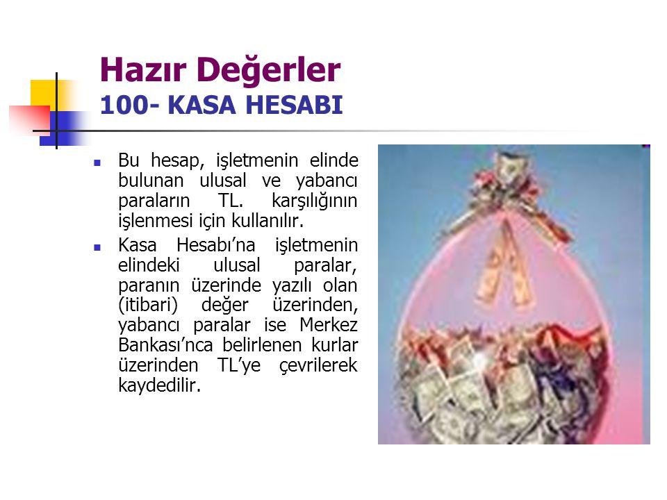 Hazır Değerler 100- KASA HESABI Bu hesap, işletmenin elinde bulunan ulusal ve yabancı paraların TL. karşılığının işlenmesi için kullanılır. Kasa Hesab