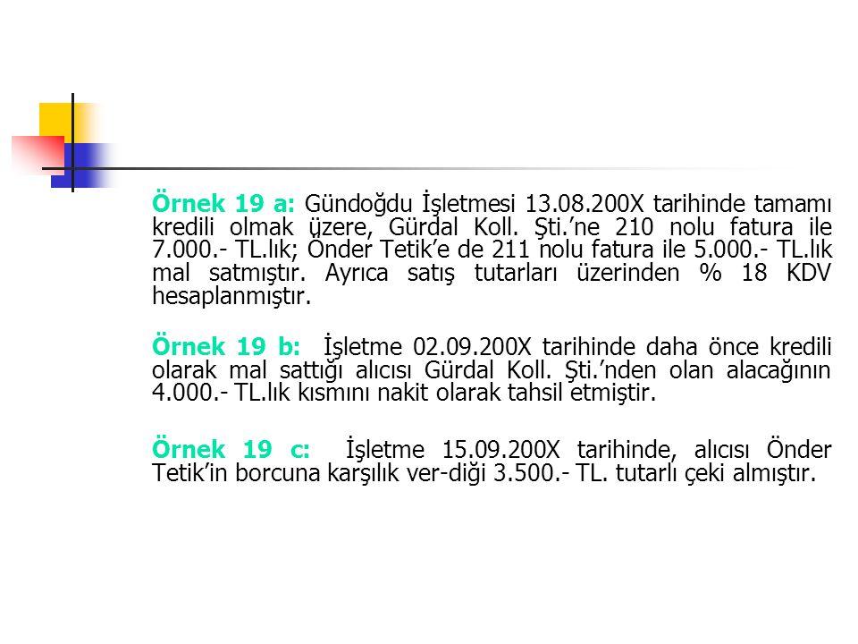 Örnek 19 a: Gündoğdu İşletmesi 13.08.200X tarihinde tamamı kredili olmak üzere, Gürdal Koll. Şti.'ne 210 nolu fatura ile 7.000.- TL.lık; Önder Tetik'e