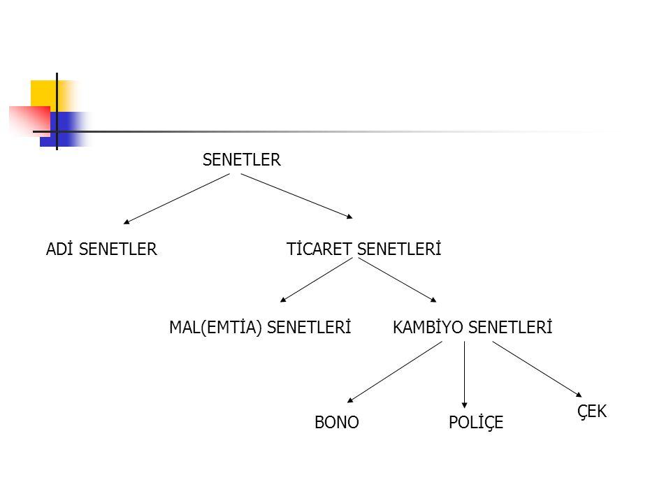 SENETLER ADİ SENETLERTİCARET SENETLERİ MAL(EMTİA) SENETLERİKAMBİYO SENETLERİ ÇEK BONOPOLİÇE