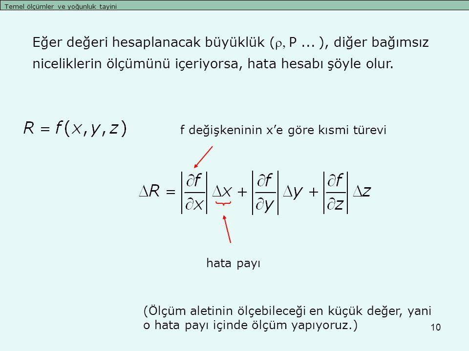 10 Temel ölçümler ve yoğunluk tayini Eğer değeri hesaplanacak büyüklük (P...), diğer bağımsız niceliklerin ölçümünü içeriyorsa, hata hesabı şöyle