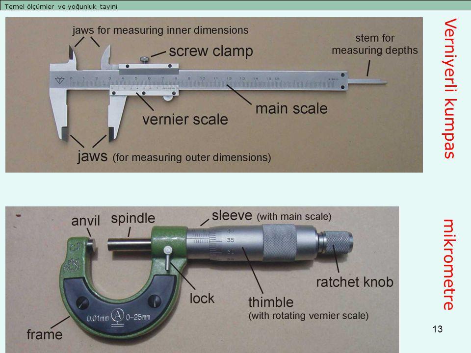 13 Temel ölçümler ve yoğunluk tayini Verniyerli kumpas mikrometre