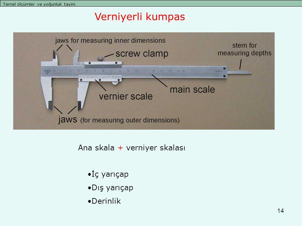 14 Temel ölçümler ve yoğunluk tayini İç yarıçap Dış yarıçap Derinlik Ana skala + verniyer skalası Verniyerli kumpas