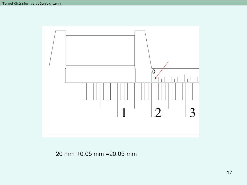 17 Temel ölçümler ve yoğunluk tayini 20 mm +0.05 mm =20.05 mm
