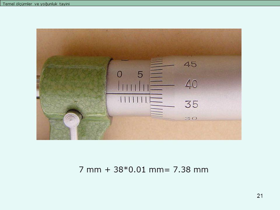 21 Temel ölçümler ve yoğunluk tayini 7 mm + 38*0.01 mm= 7.38 mm