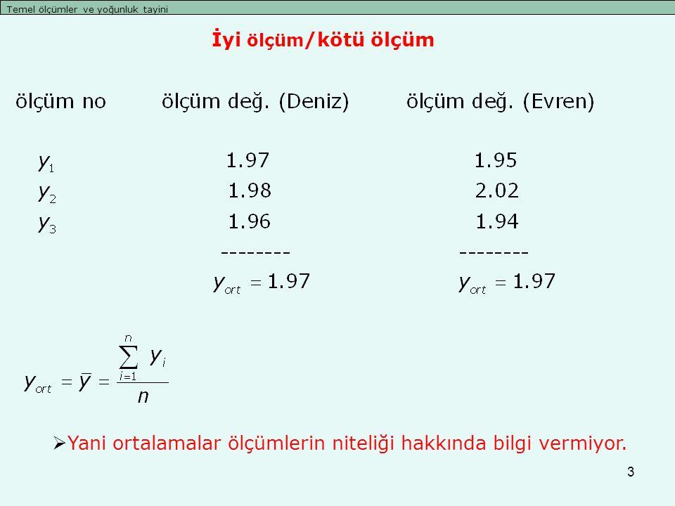 3 Temel ölçümler ve yoğunluk tayini  Yani ortalamalar ölçümlerin niteliği hakkında bilgi vermiyor. İyi ölçüm /kötü ölçüm