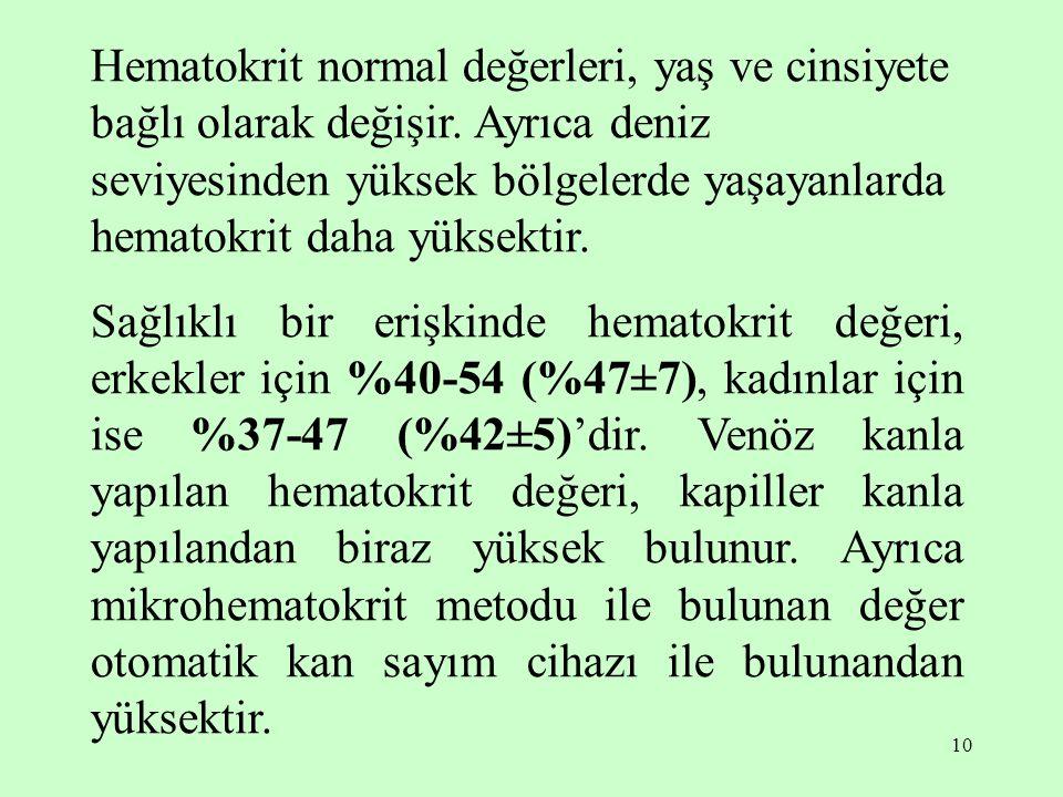 10 Hematokrit normal değerleri, yaş ve cinsiyete bağlı olarak değişir. Ayrıca deniz seviyesinden yüksek bölgelerde yaşayanlarda hematokrit daha yüksek
