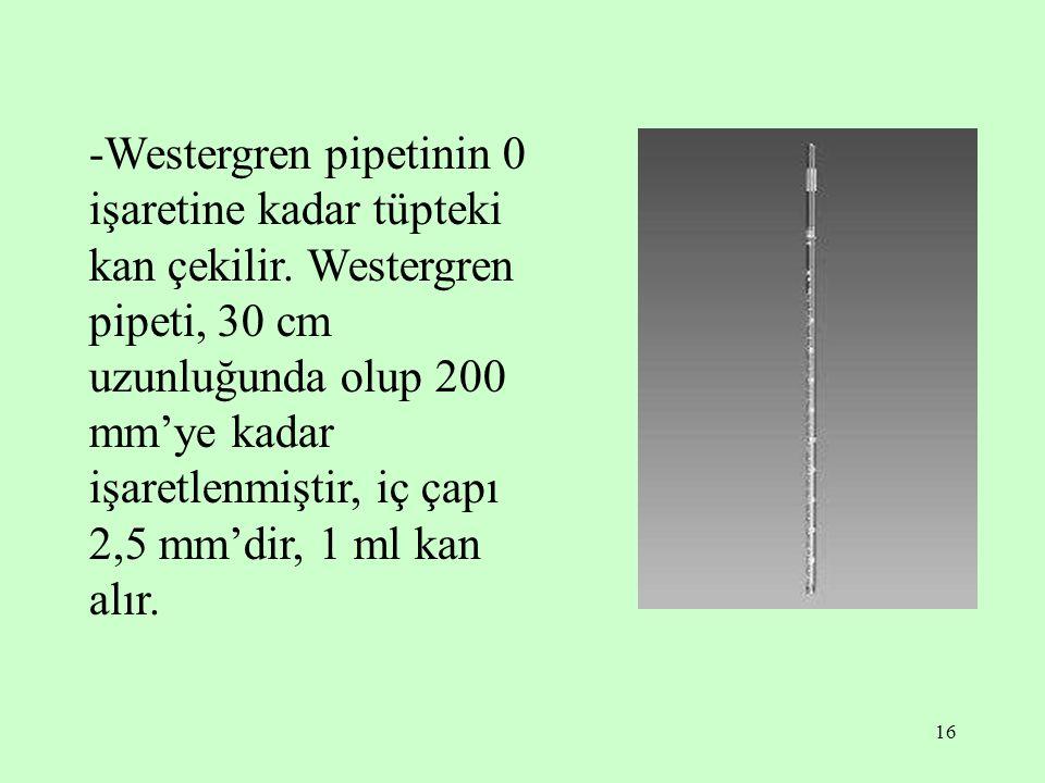 16 -Westergren pipetinin 0 işaretine kadar tüpteki kan çekilir. Westergren pipeti, 30 cm uzunluğunda olup 200 mm'ye kadar işaretlenmiştir, iç çapı 2,5