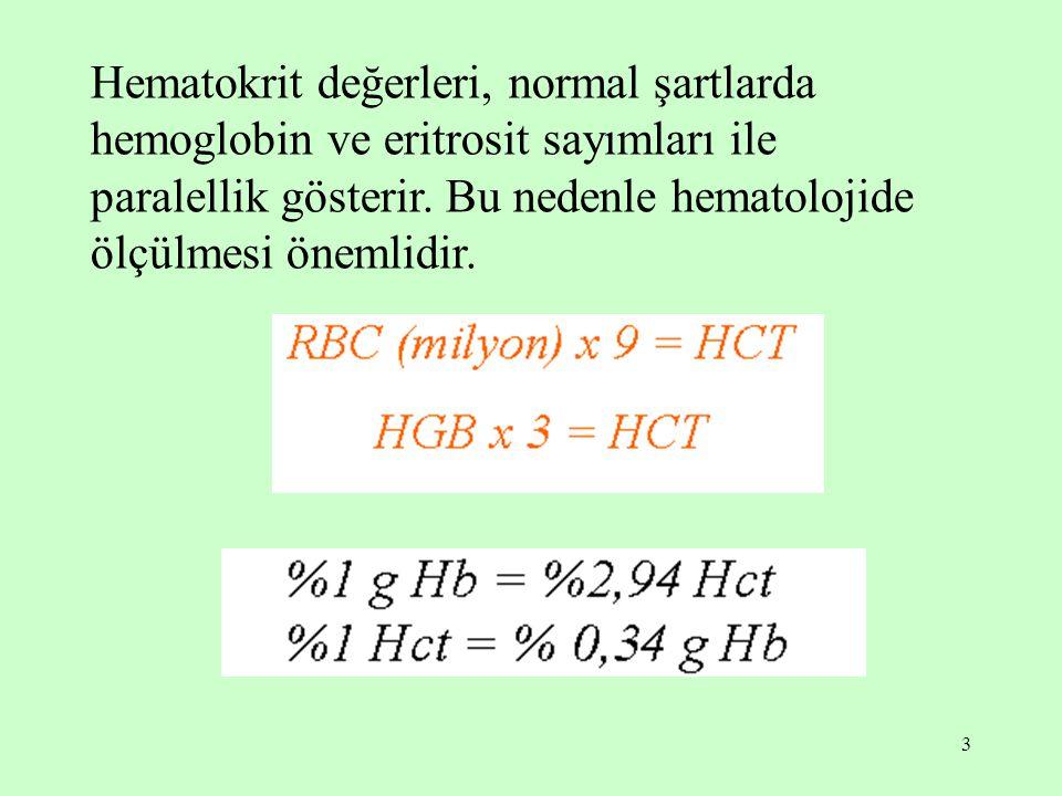 3 Hematokrit değerleri, normal şartlarda hemoglobin ve eritrosit sayımları ile paralellik gösterir. Bu nedenle hematolojide ölçülmesi önemlidir.