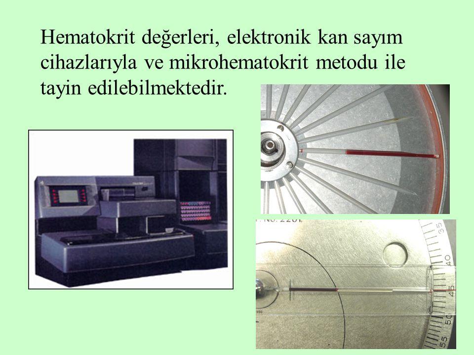 4 Hematokrit değerleri, elektronik kan sayım cihazlarıyla ve mikrohematokrit metodu ile tayin edilebilmektedir.