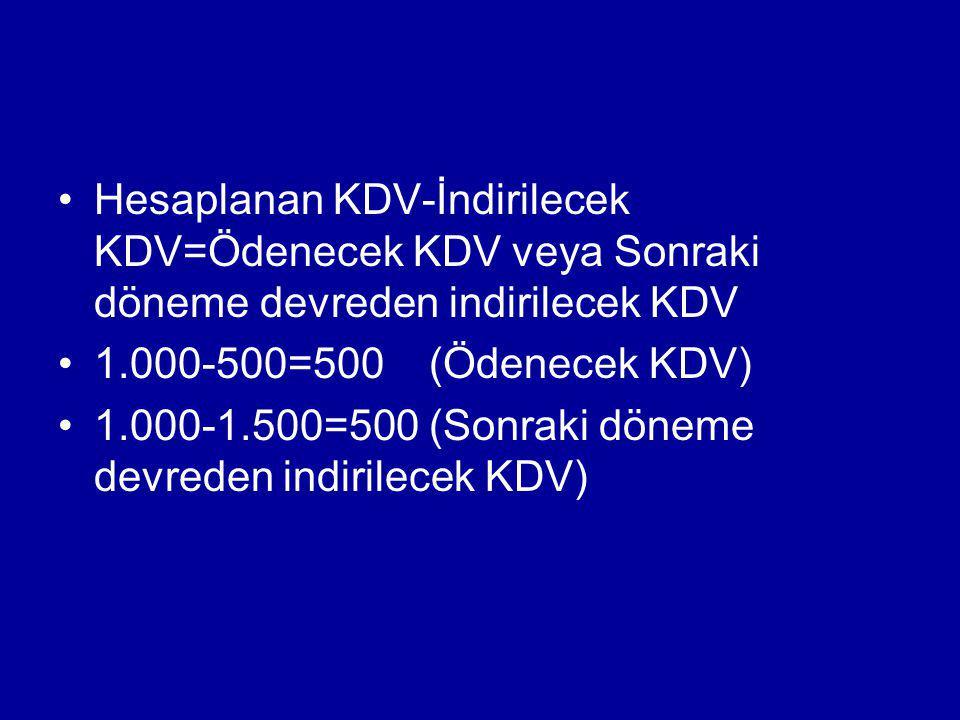 Hesaplanan KDV-İndirilecek KDV=Ödenecek KDV veya Sonraki döneme devreden indirilecek KDV 1.000-500=500 (Ödenecek KDV) 1.000-1.500=500 (Sonraki döneme