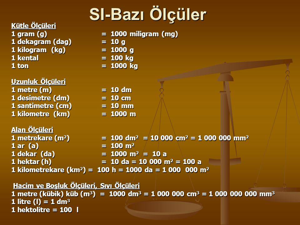 SI-Bazı Ölçüler Kütle Ölçüleri 1 gram (g) = 1000 miligram (mg) 1 dekagram (dag) = 10 g 1 kilogram (kg) = 1000 g 1 kental = 100 kg 1 ton = 1000 kg Uzun