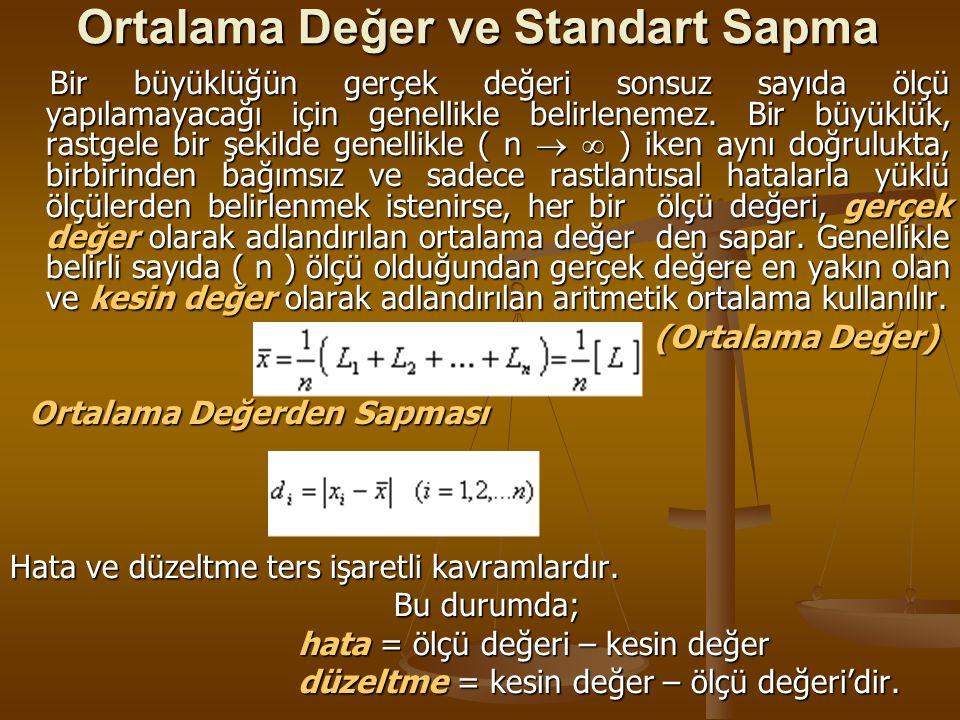 Ortalama Değer ve Standart Sapma Bir büyüklüğün gerçek değeri sonsuz sayıda ölçü yapılamayacağı için genellikle belirlenemez. Bir büyüklük, rastgele b