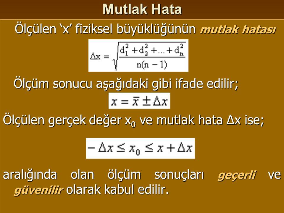 Bağıl Hata ve Yüzde Bağıl Hata Bağıl Hata: Bağıl Hata: Mutlak hatanın gerçek değer x 0 veya ölçüm sonucuna oranıdır.