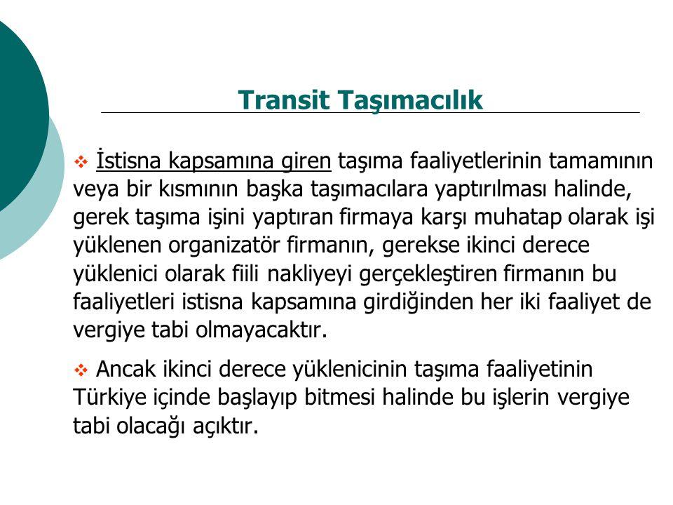 Transit Taşımacılık  İstisna kapsamına giren taşıma faaliyetlerinin tamamının veya bir kısmının başka taşımacılara yaptırılması halinde, gerek taşıma işini yaptıran firmaya karşı muhatap olarak işi yüklenen organizatör firmanın, gerekse ikinci derece yüklenici olarak fiili nakliyeyi gerçekleştiren firmanın bu faaliyetleri istisna kapsamına girdiğinden her iki faaliyet de vergiye tabi olmayacaktır.