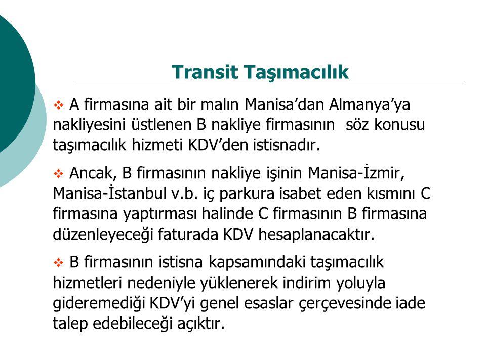 Transit Taşımacılık  A firmasına ait bir malın Manisa'dan Almanya'ya nakliyesini üstlenen B nakliye firmasının söz konusu taşımacılık hizmeti KDV'den istisnadır.