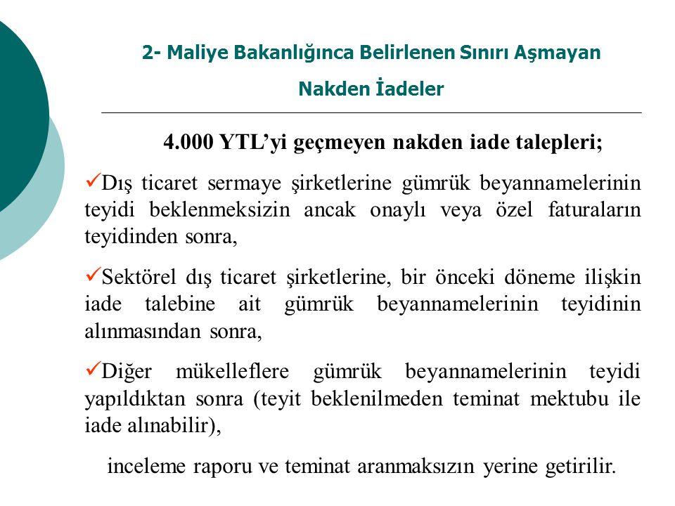 2- Maliye Bakanlığınca Belirlenen Sınırı Aşmayan Nakden İadeler 4.000 YTL'yi geçmeyen nakden iade talepleri; Dış ticaret sermaye şirketlerine gümrük beyannamelerinin teyidi beklenmeksizin ancak onaylı veya özel faturaların teyidinden sonra, Sektörel dış ticaret şirketlerine, bir önceki döneme ilişkin iade talebine ait gümrük beyannamelerinin teyidinin alınmasından sonra, Diğer mükelleflere gümrük beyannamelerinin teyidi yapıldıktan sonra (teyit beklenilmeden teminat mektubu ile iade alınabilir), inceleme raporu ve teminat aranmaksızın yerine getirilir.