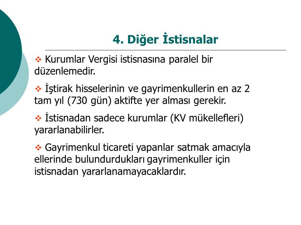 4.Diğer İstisnalar  Kurumlar Vergisi istisnasına paralel bir düzenlemedir.