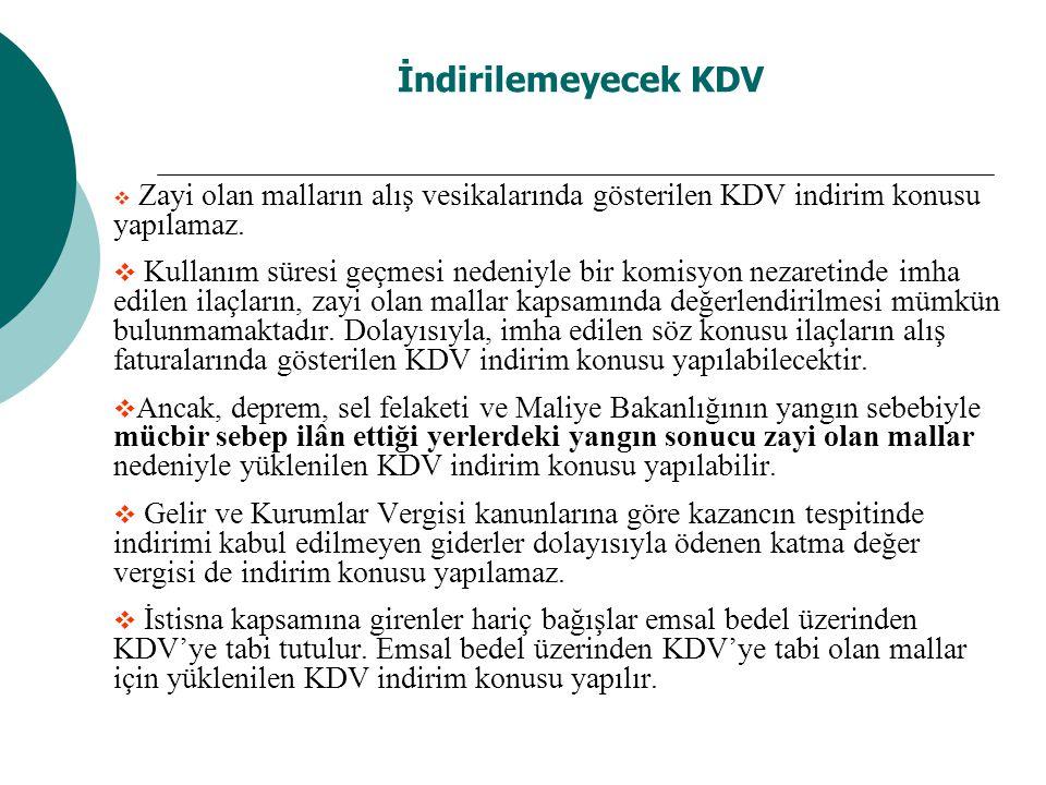 İndirilemeyecek KDV  Zayi olan malların alış vesikalarında gösterilen KDV indirim konusu yapılamaz.  Kullanım süresi geçmesi nedeniyle bir komisyon