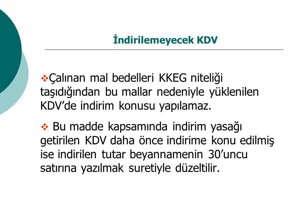 İndirilemeyecek KDV  Çalınan mal bedelleri KKEG niteliği taşıdığından bu mallar nedeniyle yüklenilen KDV'de indirim konusu yapılamaz.