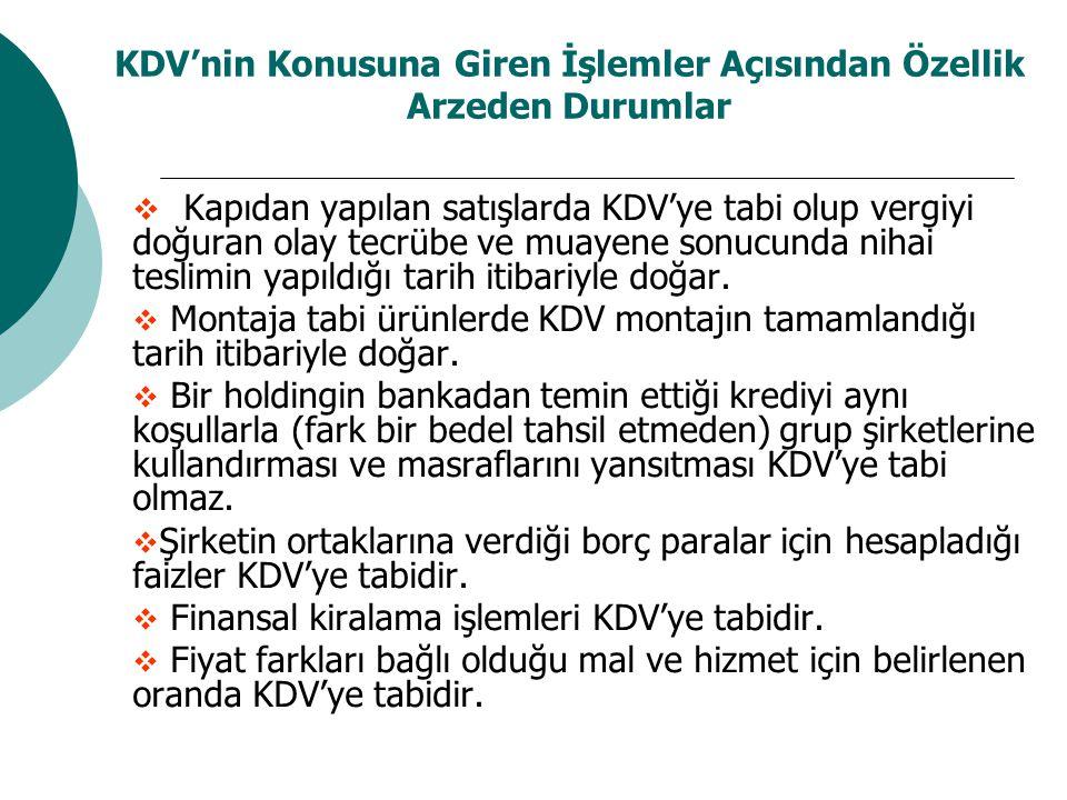KDV'nin Konusuna Giren İşlemler Açısından Özellik Arzeden Durumlar  Kapıdan yapılan satışlarda KDV'ye tabi olup vergiyi doğuran olay tecrübe ve muayene sonucunda nihai teslimin yapıldığı tarih itibariyle doğar.