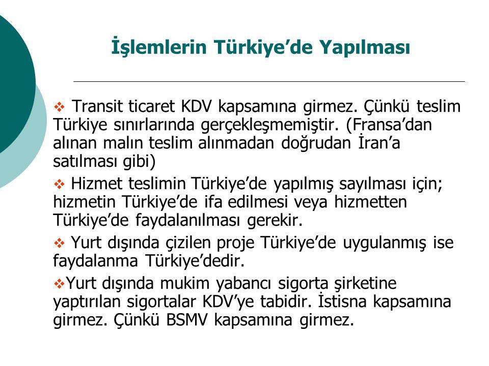 İşlemlerin Türkiye'de Yapılması  Transit ticaret KDV kapsamına girmez. Çünkü teslim Türkiye sınırlarında gerçekleşmemiştir. (Fransa'dan alınan malın
