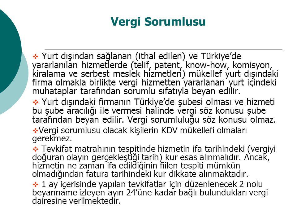 Vergi Sorumlusu  Yurt dışından sağlanan (ithal edilen) ve Türkiye'de yararlanılan hizmetlerde (telif, patent, know-how, komisyon, kiralama ve serbest
