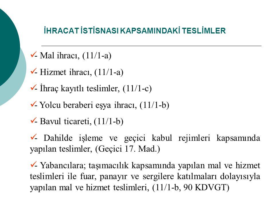 İHRACAT İSTİSNASI KAPSAMINDAKİ TESLİMLER - Mal ihracı, (11/1-a) - Hizmet ihracı, (11/1-a) - İhraç kayıtlı teslimler, (11/1-c) - Yolcu beraberi eşya ihracı, (11/1-b) - Bavul ticareti, (11/1-b) - Dahilde işleme ve geçici kabul rejimleri kapsamında yapılan teslimler, (Geçici 17.
