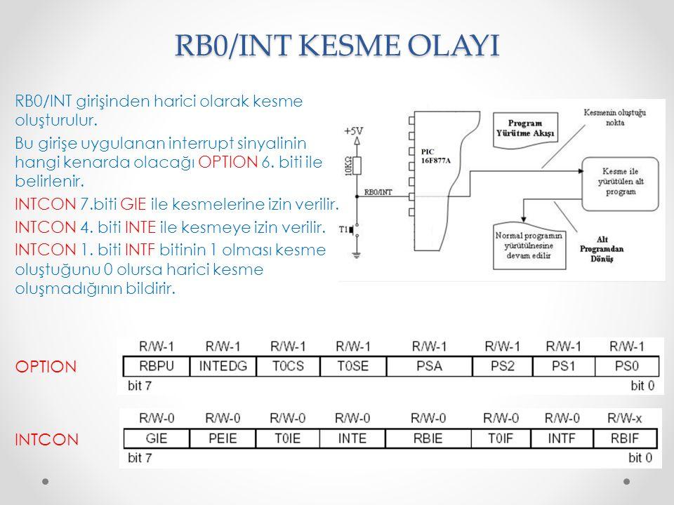 RB0/INT KESME OLAYI RB0/INT girişinden harici olarak kesme oluşturulur. Bu girişe uygulanan interrupt sinyalinin hangi kenarda olacağı OPTION 6. biti