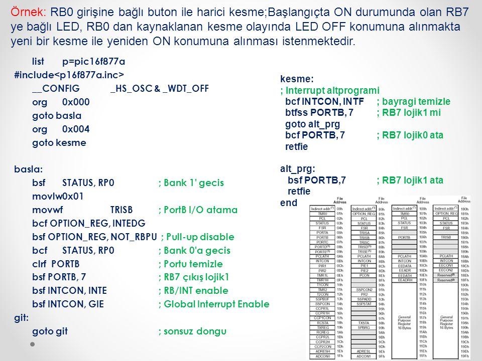 listp=pic16f877a #include __CONFIG_HS_OSC & _WDT_OFF org0x000 goto basla org0x004 goto kesme basla: bsfSTATUS, RP0; Bank 1' gecis movlw0x01 movwfTRISB