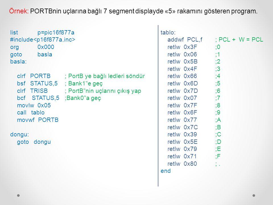 tablo: addwf PCL,f ; PCL + W = PCL retlw 0x3F ;0 retlw 0x06 ;1 retlw 0x5B ;2 retlw 0x4F ;3 retlw 0x66 ;4 retlw 0x6D ;5 retlw 0x7D ;6 retlw 0x07 ;7 ret