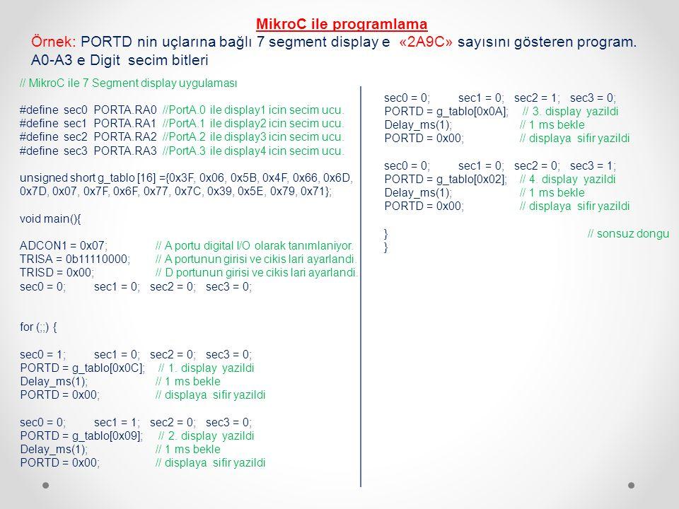 MikroC ile programlama Örnek: PORTD nin uçlarına bağlı 7 segment display e «2A9C» sayısını gösteren program. A0-A3 e Digit secim bitleri // MikroC ile