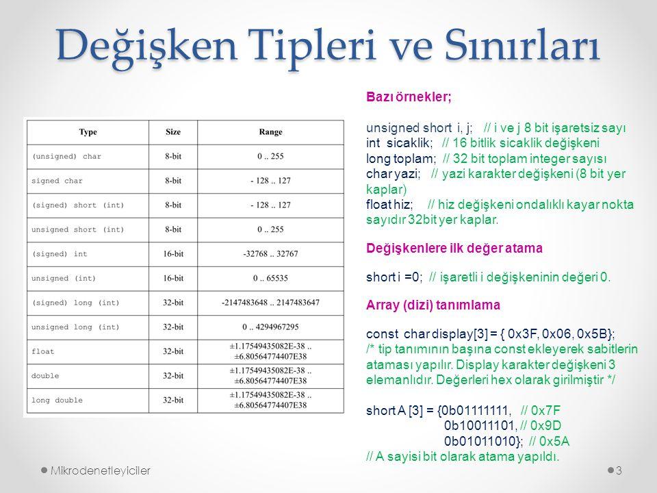 Değişken Tipleri ve Sınırları Mikrodenetleyiciler3 Bazı örnekler; unsigned short i, j; // i ve j 8 bit işaretsiz sayı int sicaklik; // 16 bitlik sicak