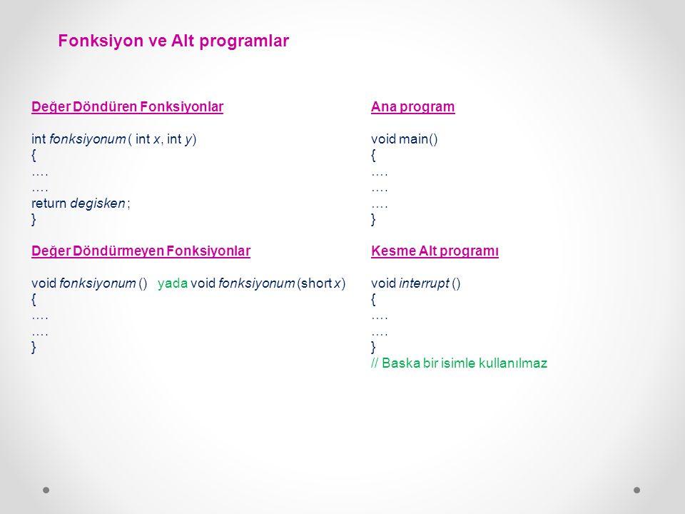 Fonksiyon ve Alt programlar Değer Döndüren Fonksiyonlar int fonksiyonum ( int x, int y) { …. return degisken ; } Değer Döndürmeyen Fonksiyonlar void f