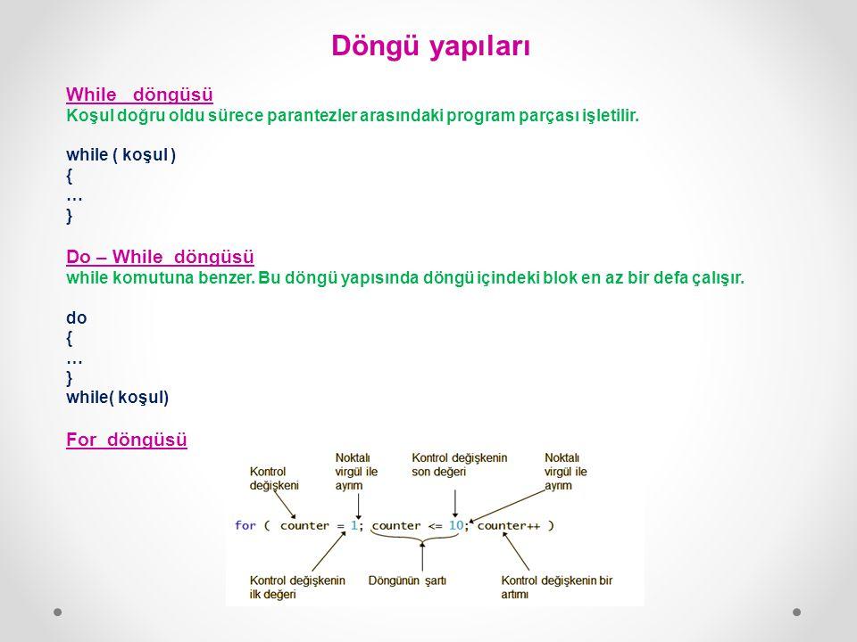 Döngü yapıları While döngüsü Koşul doğru oldu sürece parantezler arasındaki program parçası işletilir. while ( koşul ) { … } Do – While döngüsü while