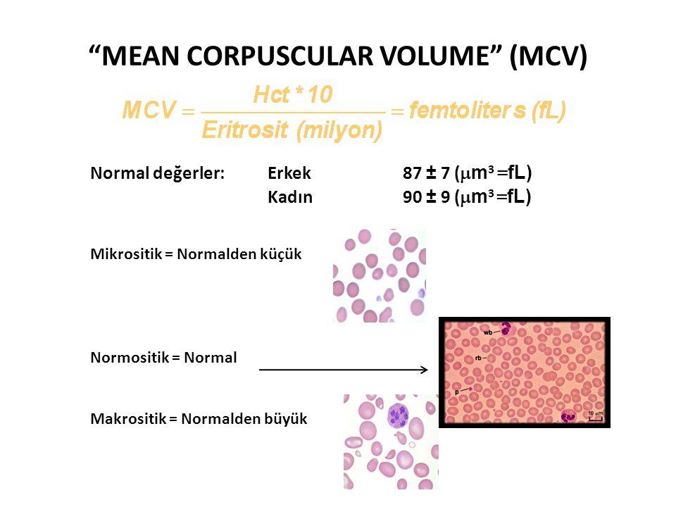 """""""MEAN CORPUSCULAR VOLUME"""" (MCV) Normal değerler:Erkek 87 ± 7 (  m 3 = fL) Kadın90 ± 9 (  m 3 = fL) Mikrositik = Normalden küçük Normositik = Normal"""