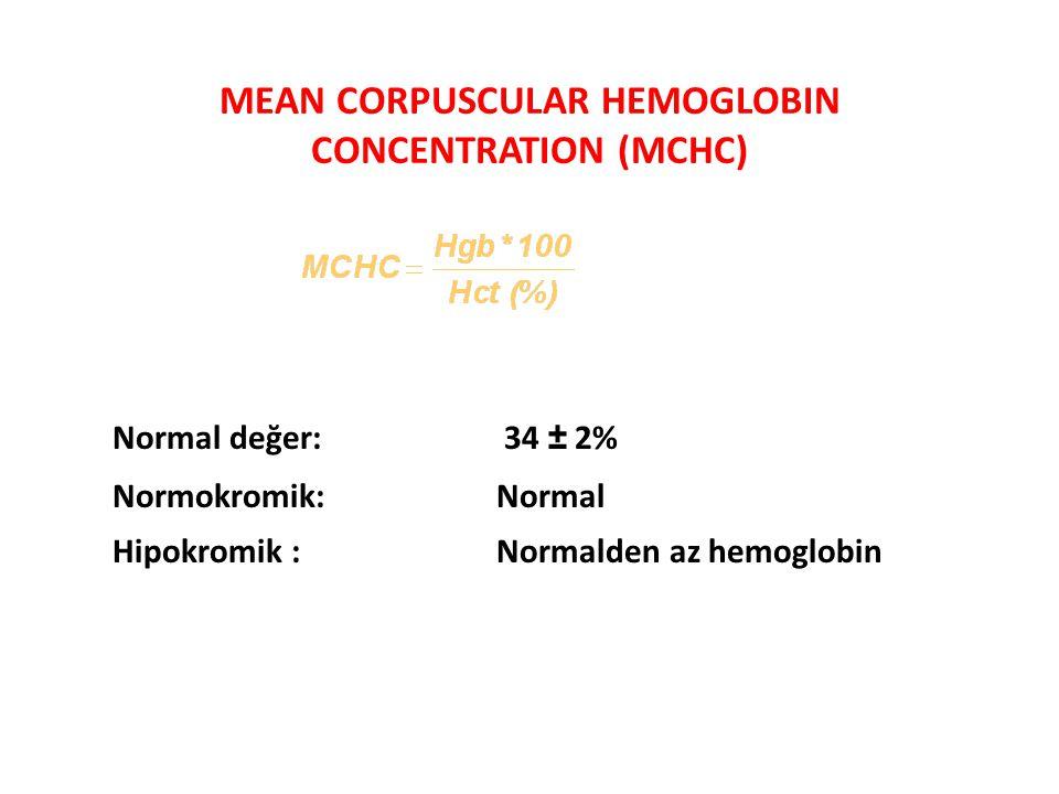 MEAN CORPUSCULAR HEMOGLOBIN CONCENTRATION (MCHC) Normal değer: 34 ± 2% Normokromik:Normal Hipokromik :Normalden az hemoglobin