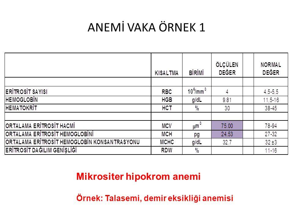 ANEMİ VAKA ÖRNEK 1 Mikrositer hipokrom anemi Örnek: Talasemi, demir eksikliği anemisi