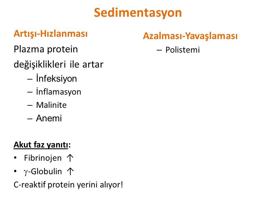 Sedimentasyon Artışı-Hızlanması Plazma protein değişiklikleri ile artar –İnfeksiyon – İnflamasyon – Malinite –Anemi Akut faz yanıtı: Fibrinojen ↑  -G