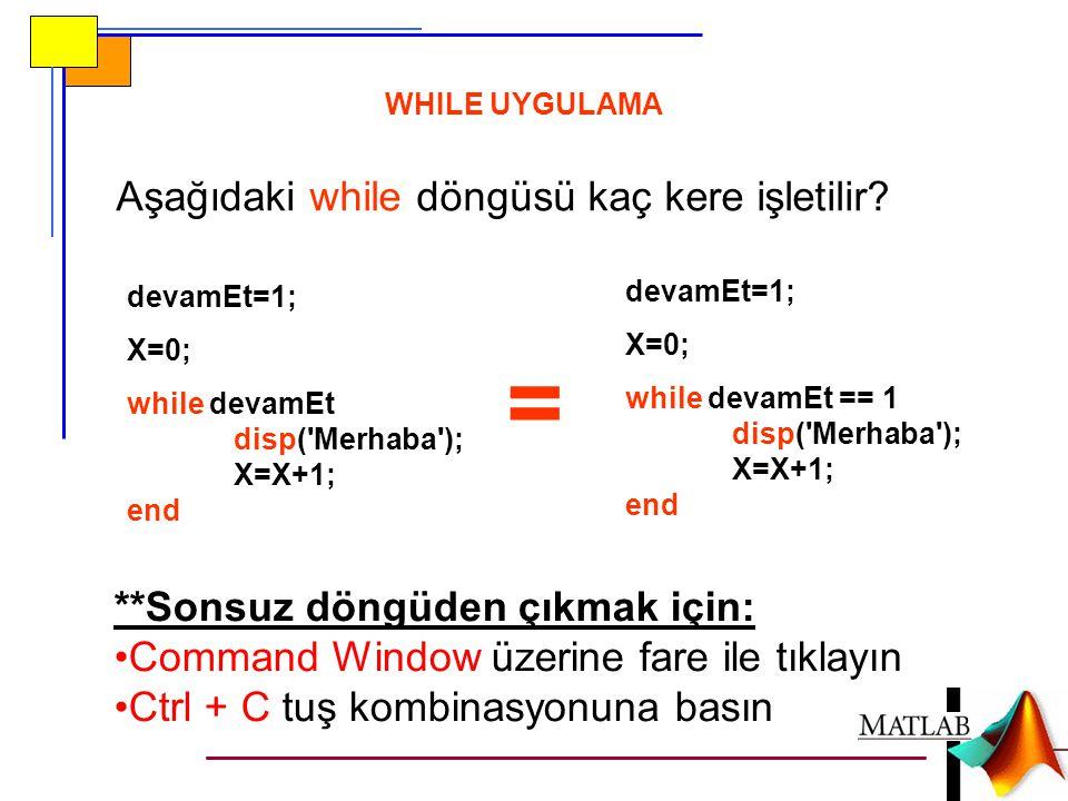 WHILE UYGULAMA devamEt=1; X=0; while devamEt disp('Merhaba'); X=X+1; end Aşağıdaki while döngüsü kaç kere işletilir? **Sonsuz döngüden çıkmak için: Co
