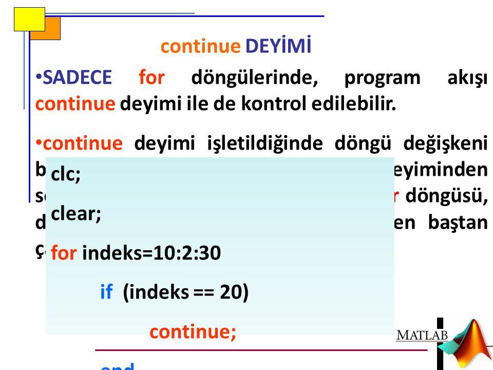 continue DEYİMİ SADECE for döngülerinde, program akışı continue deyimi ile de kontrol edilebilir. continue deyimi işletildiğinde döngü değişkeni bir s