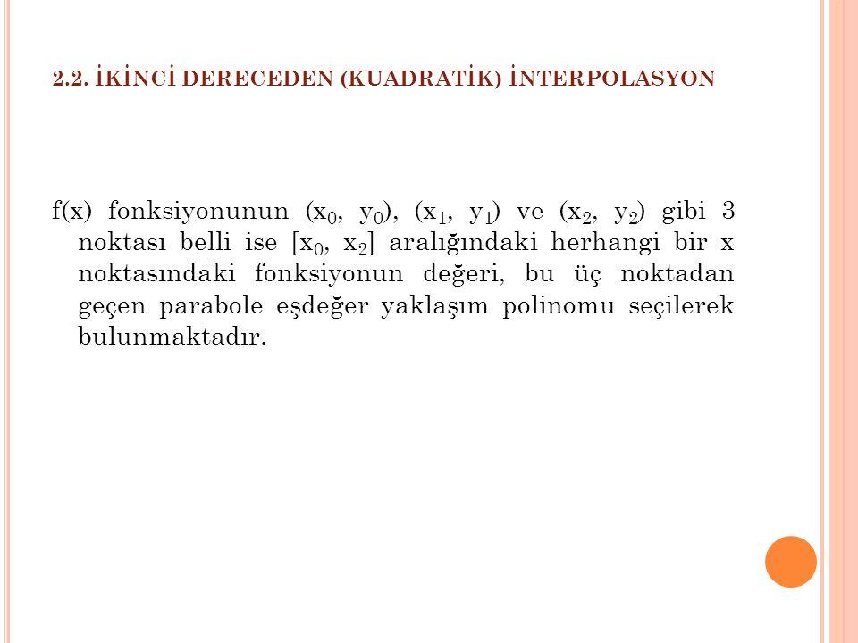 2.2. İKİNCİ DERECEDEN (KUADRATİK) İNTERPOLASYON f(x) fonksiyonunun (x 0, y 0 ), (x 1, y 1 ) ve (x 2, y 2 ) gibi 3 noktası belli ise [x 0, x 2 ] aralığ